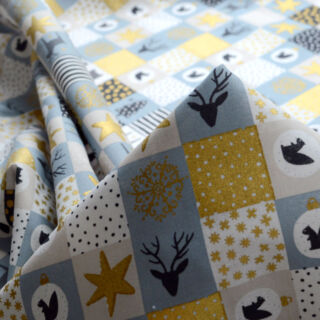 Photography of Christmas Cotton - Festive Patchwork- Grey