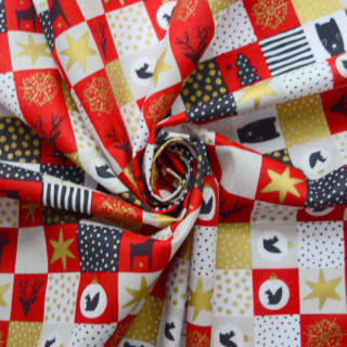 Photography of Christmas Cotton - Festive Patchwork- Red